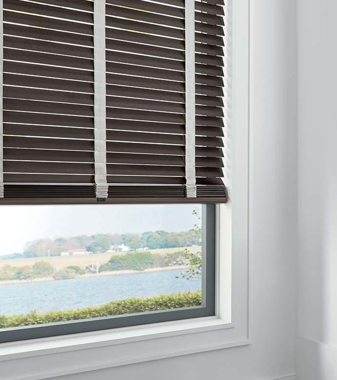 brown wood blinds in Vancouver WA