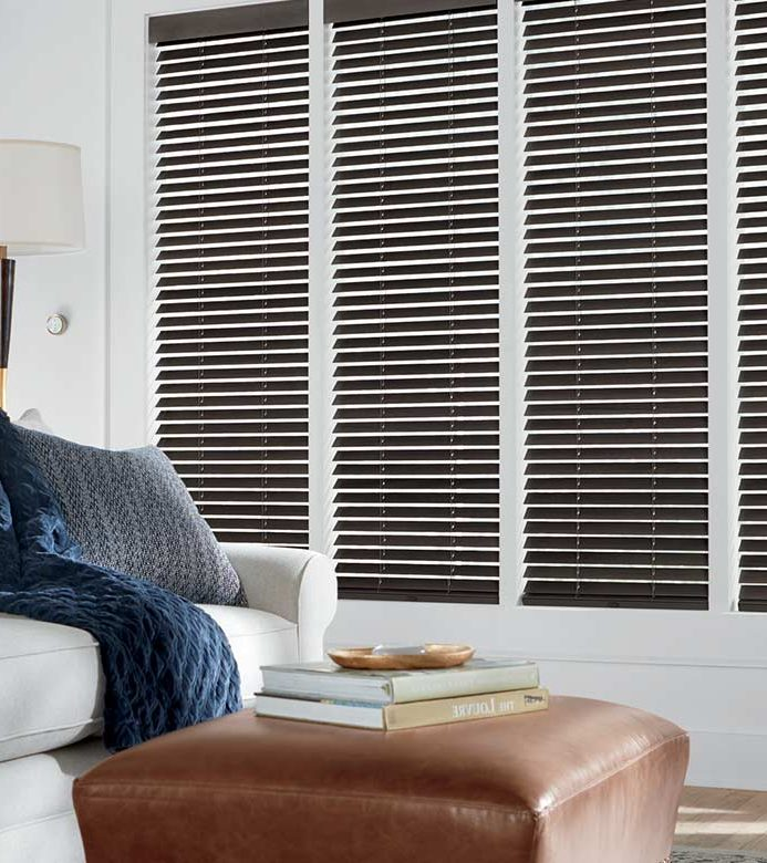 brown wood blinds in white living room in Chicago, il