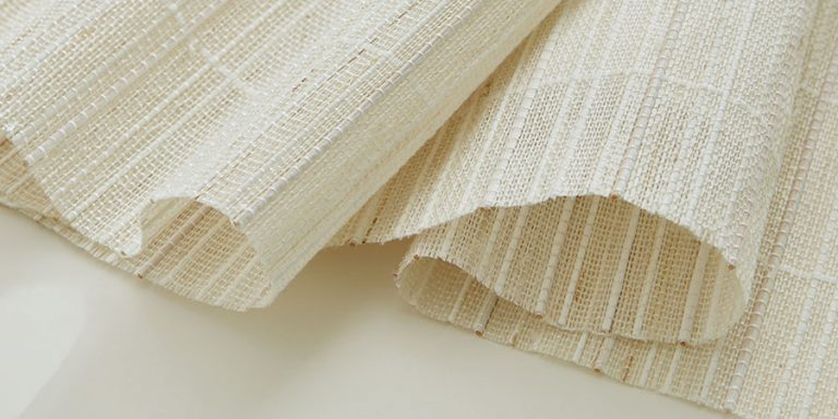 textured woven shades in bleached white