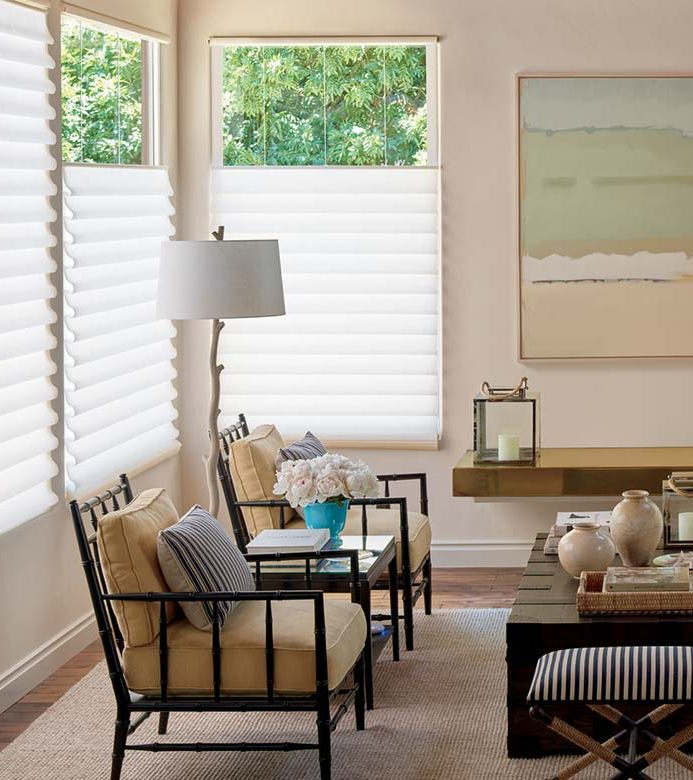 rustic living room with white roman shades