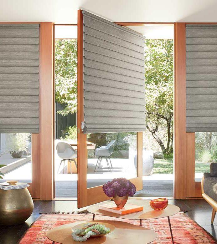 boho living room with glass patio doors