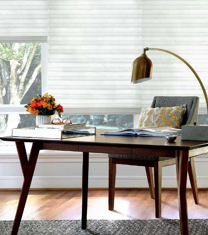 white contemporary home office shades in Chicago, IL
