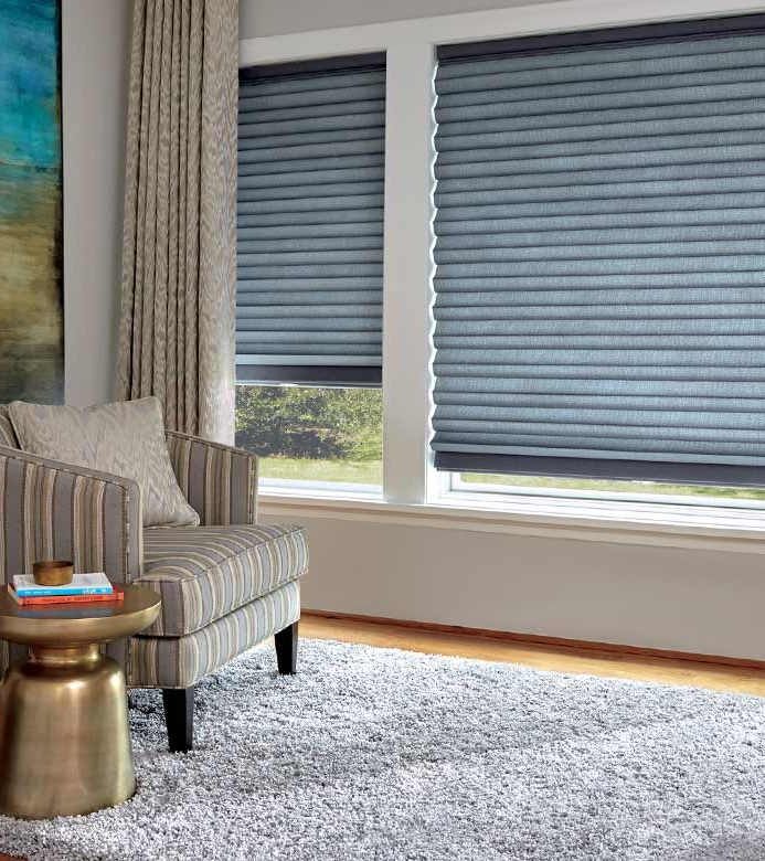 modern living room with neutral blue window shades